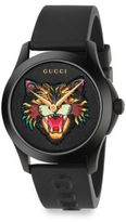 Gucci G-Timeless Angry Cat Rubber Strap Watch