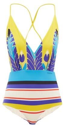 Valentino V-neck Baiadera-print Swimsuit - Womens - Yellow Multi