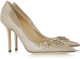Jimmy Choo Flick embellished glitter-finished leather pumps