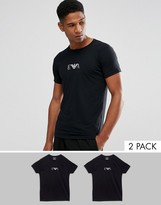 Emporio Armani Crew Neck 2 Pack T-Shirt With Chest Logo In Extreme Fitted Fit