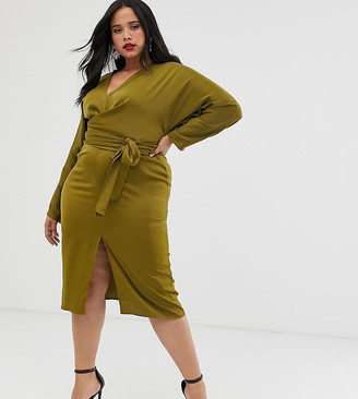 Asos DESIGN Curve midi dress with batwing sleeve and wrap waist in satin-Green
