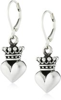 "King Baby Studio Crowned Heart"" Small 3D Crowned Heart Leverback Earrings"