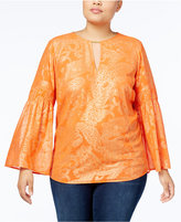MICHAEL Michael Kors Size Samara Metallic-Print Top, a Macy's Exclusive Style