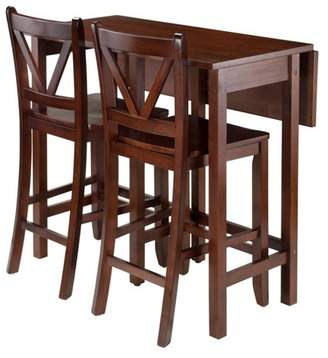 Winsome 3 Piece Lynnwood Set Drop Leaf High Table with V-Back Counter Stools Wood/Walnut