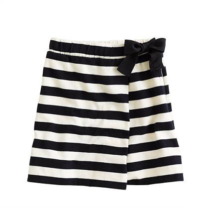 J.Crew Girls' stripe faux-wrap skirt