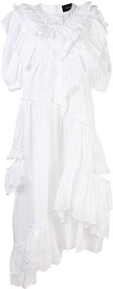 Simone Rocha Ruffle-Trimmed Puff Sleeved Dress
