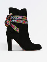 Etro Ribbon-tied suede ankle boots