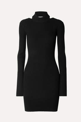 Helmut Lang Open-back Ribbed-knit Mini Dress - Black