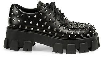 Prada Lug-Sole Studded Leather Creepers