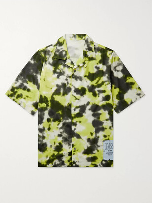 McQ Camp-Collar Appliqued Tie-Dyed Cotton-Poplin Shirt
