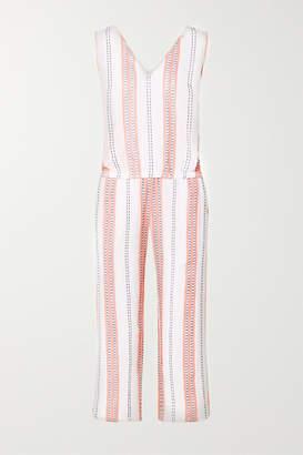 Lemlem Net Sustain Zenha Cropped Striped Cotton-blend Gauze Jumpsuit - White
