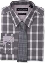 Nick Graham Men's Graph Bufallo Dress Shirt with Tie Set, Grey