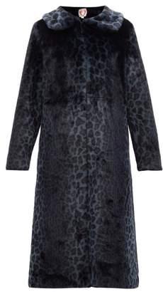 Shrimps Patrick Leopard Print Faux Fur Coat - Womens - Navy