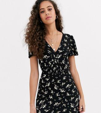 Miss Selfridge Petite tea dress with shirred detail in floral-Multi