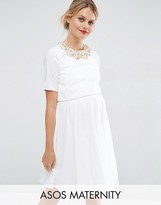 Asos Embellished Crop Top Mini Dress