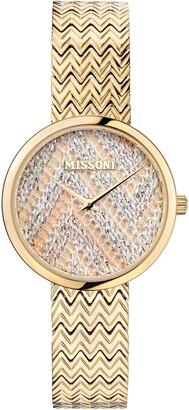 Missoni M1 Joyful Knit Dial Bracelet Watch & Leather Strap Gift Set, 34mm