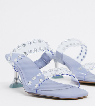 ASOS DESIGN Wide Fit Hitch embellished heeled mules in lilac and clear