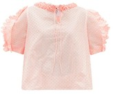 Horror Vacui Fanny Polka-dot Fli-coupe Cotton-poplin Blouse - Womens - Pink