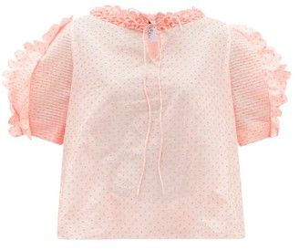 Horror Vacui Fanny Polka-dot Fli-coupe Cotton-poplin Blouse - Pink