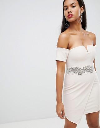 Rare London asymmetric bardot mini dress-Cream