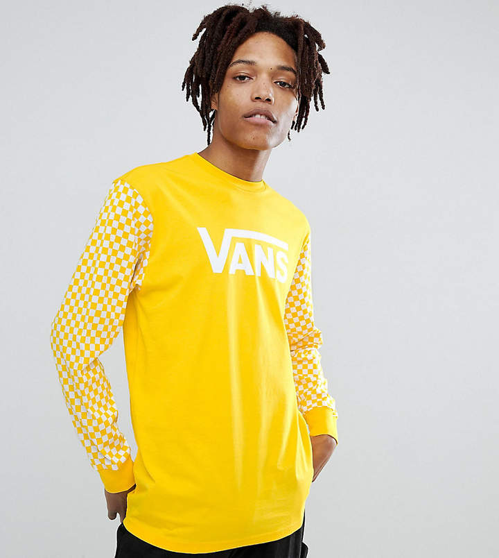 Vans heritage long sleeve top with checkerboard sleeve Exclusive at ASOS