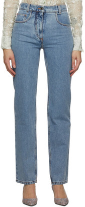 Salvatore Ferragamo Blue High Waist Straight Jeans