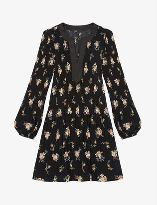 Maje Rockol floral-print crepe mini dress