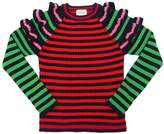 Gucci Striped Knit Wool Pullover W/ Ruffles