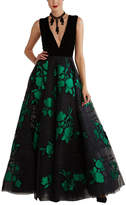 Sachin + Babi Noir Floral Silk-Blend Ball Gown