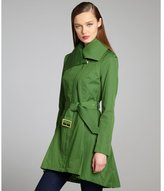 BCBGeneration forest cotton blend asymmetrical zip belted trench coat
