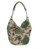Pulama Breathable Linen Hobo Handbag with Small Flowers, Embroidery Summer Beach Shoulder Bag for Casual/Vacation (Brown)