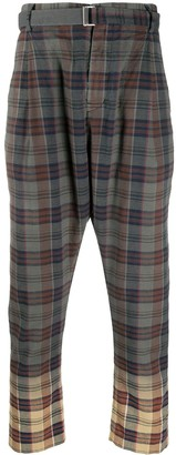 Sacai Faded Cuff Plaid Trousers