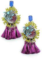 Elizabeth Cole Happy New Year Crystal & Tassel Drop Earrings
