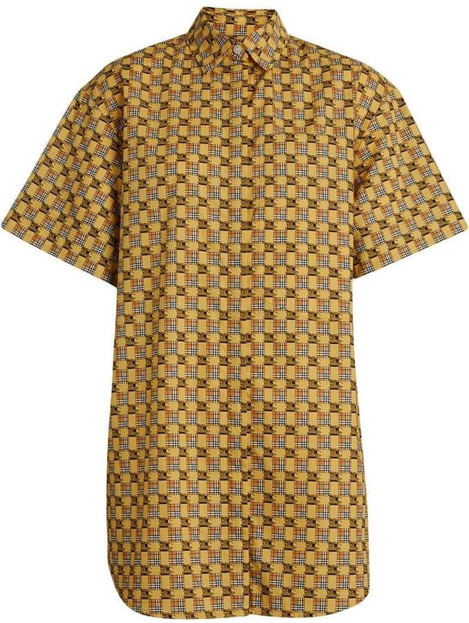 Burberry Short-sleeve Tiled Archive Print Cotton Shirt
