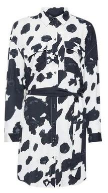 Dorothy Perkins Womens Only White Cow Print Shirt Dress, White