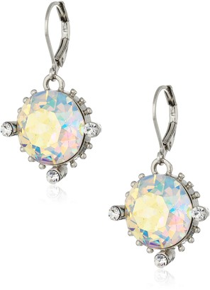 1928 Jewelry Silver-Tone Made with Clear AB Swarovski Crystal Drop Earrings