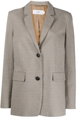 Closed Long-Sleeved Checked Blazer