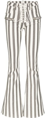 Unravel Project Lace-Up Striped Flared Trousers