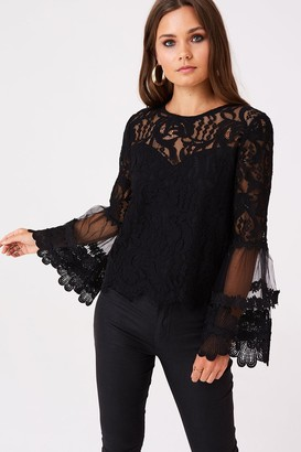 Girls On Film Levine Black Fluted Sleeve Top