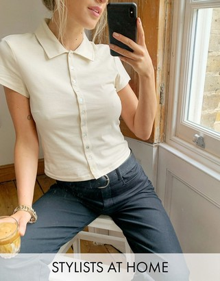 And other stories & organic cotton button through polo top in beige