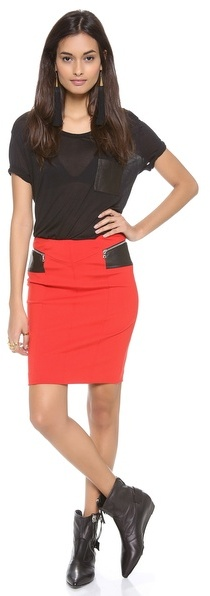 Yigal Azrouel Company Jersey Skirt with Leather Panels