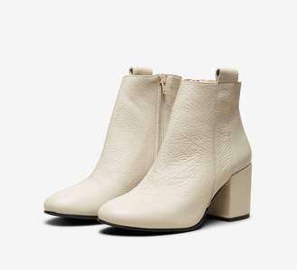 Selected Stone Coloured Block Heel Ankle Boot - leather | 38