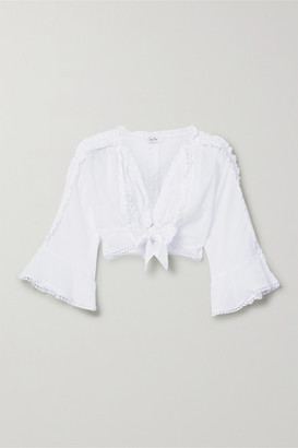 Charo Ruiz Ibiza Kissa Cropped Crocheted Lace-trimmed Cotton-blend Voile Top - White
