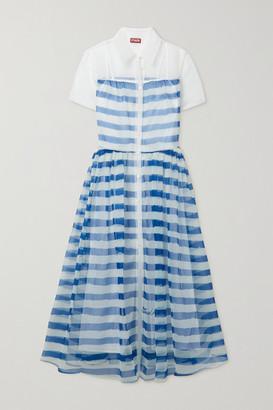 STAUD Guilia Striped Organza Shirt Dress - Blue