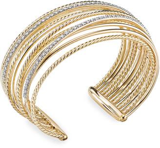 David Yurman DY Crossover 18k Gold Cuff Bracelet w/ Diamonds, Size S