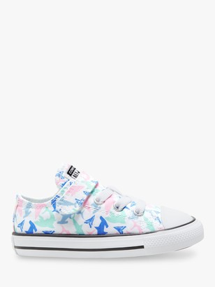 Converse Junior Chuck Taylor All Star Shark Bite Low Top Trainers, White/Fresh Mint/Black