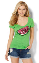 New York & Co. V-Neck Tee - Sequin Watermelon