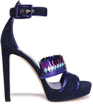 Jimmy Choo Kathleen Metallic-trimmed Suede Platform Sandals