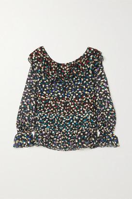Rixo Chloe Tiered Floral-print Fil Coupe Silk And Lurex-blend Chiffon Blouse - Black