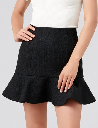 Forever New Louise Boucle Fit & Flare Skirt - Black Boucle - 4